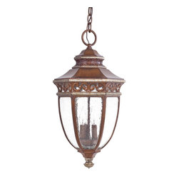 Minka Lavery - Minka Lavery Outdoor 9234-161 Castle Ridge 3 Light Pendant - Morroro Walnut with Silver Highlights Finish