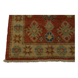 2'x4' 100 Percent Wool Kazakh Tribal Design Hand Knotted Oriental Rug Sh18466 - Our Tribal & Geometric hand knotted rug collection, consists of classic rugs woven with geometric patterns based on traditional tribal motifs. You will find Kazak rugs and flat-woven Kilims with centuries-old classic Turkish, Persian, Caucasian and Armenian patterns. The collection also includes the antique, finely-woven Serapi Heriz, the Mamluk Afghan, and the traditional village Persian rug.