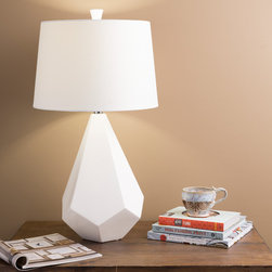 None - Marvelous Multi-faced White Ceramic Lamp - Highlighted in marvelously modern elements of design,this piece will surely become the crowning jewel of your home decor. Featuring a white multi-faced ceramic base with a white faux silk shade,this piece will envelope your space in trend worthy charm.