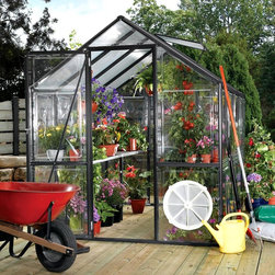 EasyGrow - EasyGrow 6 x 8 ft. Black Frame Greenhouse Kit - EG45618VG - Shop for Greenhouses from Hayneedle.com! Additional features:Peak height: 7 ft. 2in.Sidewall height: 6 ft.48 sq. ft. of floor space30 sq. ft. of working benchesDoor height: 6 ft.Crisscross steel wires make the greenhouse sturdyCorrosion-free materialsBlack baked powder coated finishGrowing your own vegetables and organics at home has never been so fun and easy at is with the EasyGrow 6 x 8 ft. Black Frame Greenhouse Kit. Constructed of black powder-coated heavy-gauge extruded aluminum with walls made of crystal clear acrylic polycarbonate this greenhouse has everything you need to keep your plants healthy and safe. The roof panels consist of rigid 4mm twin wall opaque UV polycarbonate. The aluminum-framed hinged door and roof and side venting system are just two of this greenhouse's outstanding features that will help your plants bloom.This beautiful greenhouse has a standard roof vent for fresh air entry and side vents ensure proper air circulation. Two shelves span the full length of the greenhouse so you can keep your plants organized and safe as well as create a potting area. The greenhouse is made of corrosion-free materials that can stand up to the elements.EasyGrow's rigid-frame structure has vertical sidewalls and rafters for clear-span construction. There are no columns or trusses to support the roof. Glued or nailed plywood gussets connect the sidewall supports to the rafters to make one rigid frame. The conventional gable roof and sidewalls allow maximum interior space and air circulation.EasyGrow's acrylic polycarbonate has a prism design that captures more light than any greenhouse on the market. The multi-fold crystal roofing allows you to maximize the sun's power capturing the sun's energy for light and heat during cool winter to make your growing experience more efficient and economical. This design also reduces the accumulation of snow.This greenhouse is sturdy and durable due to