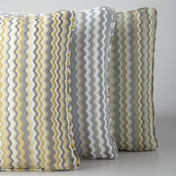 """Horchow - Generosa Accent Pillow - Accent pillow in fun zigzag stripes packs a lot of variety into your choice of soft color. Select color when ordering. Made of rayon/polyester with feather fill. Dry clean. 22""""Sq. Imported of domestic materials."""