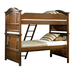 American Woodcrafters - American Woodcrafters Bradford Twin Bunk Bed in Rich Cherry - A perfect fit for your children's room, this Bradford Twin Bunk Bed by American Woodcrafters makes for a fun, practical, and beautiful addition. Arched crown rails with open slats with cherry veneer panels give this already beautiful piece and even more stunning look. As an added bonus, this bunk has the ability to break down into separate twin size beds should your kids ever tire of bunking. Transform your youth bedroom with this functional bunk bed. This bed is available in Full size also.
