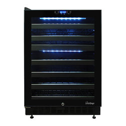 Vinotemp - Vinotemp - 46-Bottle Dual-Zone Wine Cooler - This 46 bottle dual zone touch screen wine cooler is convenient, easy to use and will keep your wines properly stored so they'll be ready for any occasion. A digital controller with blue LED readout allows you to set the VT-46TS-2Z at two different temperatures, one temperature for your reds and one for your whites. Our distinctive black rack is a patent pending Vinotemp design exclusive.
