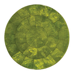 Kim Seybert Spring Green Round Capiz Placemat - Present your place settings like works of art, as fine chefs do in the world's most elegant restaurants, with the Capiz round placemat.  A gorgeous designer base for elegant entertaining, these placemats are constructed from natural shell in all its beautiful variegations of hue and iridescence.  A border of glossy demilune pieces provides a stylish decorative edge around a marbled center.  Suitable for either round or rectangular tables, these placemats are sold individually.