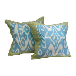 Blue & Green Silk Ikat Pillows - Dimensions 20.0ʺW × 4.0ʺD × 20.0ʺH
