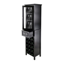 Winsome Wood - 15-Bottle Wine Cabinet - Handsome and elegant wine tower. Glass door. Compact and perfect to storage wine and accessories. Top cabinet with clear glass. Bottom section holds 15 wine bottle. Door opens to 3 fixed shelf: 13.54 in. W x 10.94 in. H for wine glass storage. One drawer with inside: 12.36 in. W x 9.06 in. D x 6.10 in. H. Made from composite wood, glass. Black finish. Assembly required. 18.11 in. W x 12.99 in. D x 66.85 in. H