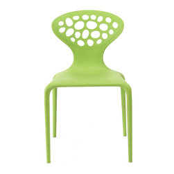 Inmod - Lily Stacking Chair (Set of 4), Green - Bridging contemporary and classic design, the Lily Stacking Chair is truly the best of both worlds.