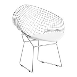 Zuo Modern - Net White Dining Chair Set of 2 - The Net dining chair pays homage to a mid-century modern classic with an airy, diamond-shaped silhouette that looks current in today's home. This sculptural seat impresses at the head of table or in a stylish sitting area. Chrome; White cushion; Sold as set of 2