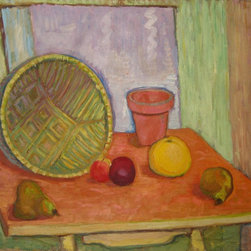 Lost Art Salon - Mid 20th C. Oil Still Life Richard Van Wingerden Original - Still life though it is, this original midcentury expressionist painting by Dutch-born artist Richard van Wingerden is full of vitality. You've got to love the way that yellow and red fruit pops against the green and orange background. This would make a wonderful kitchen or dining room piece, especially if your room style rocks some of those retro colors.