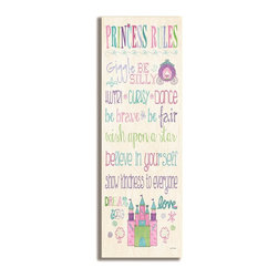 Stupell Industries - Princess Rules with Castle Typography - Made in USA. Ready for Hanging. Hand Finished and Original Artwork. No Assembly Required. 17 in L x 0.5 in W x 7 in H (3 lbs.)The Kid's Room by Stupell is offering great new wall plaques for the lil' one's.  All plaques are mounted on half inch thick MDF wood and are made in USA!  Featuring original artwork, each plaque comes hand finished with hand painted edges and a sawtooth hanger on the back for instant use.