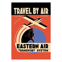 """Buyenlarge.com, Inc. - Eastern Air Transport System- Paper Poster 20"""" x 30"""" - Eastern Air flew Kingsbirds and Curtiss Condors and this poster marks the addition of Norfolk VA and Augusta GA as destinations.  Eastern Air Lines was a major United States airline from 1926 to 1991. Before its dissolution it was headquartered at Miami International Airport in an unincorporated area of Miami-Dade County, Florida."""