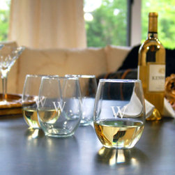 Grandin Road - Set of Four Personalized Stemless White Wine Glasses - Stemless white wine glasses, monogrammed to your taste. Wide bell-shaped bowl crafted from clear, handblown glass. Due to its handmade nature, glass may exhibit small bubbles. Engraving with a single, uppercase block initial included; style of engraving as shown. 21 oz. capacity, each. Lift the spirits of your favorite wine connoisseur or add set of engraved Stemless White Wine Glasses to your own barware collection. The modern choice of all wine lovers, stemless glassware is perfect for at-home wine tastings and large parties alike. Each is crafted from handblown glass with a wide bell-shaped bowl that's perfect for enhancing the flavor of your favorite white varietal. Engrave each glass with a single monogram; personalization is included.. . . . . Made in the USA. Personalized items are not returnable.