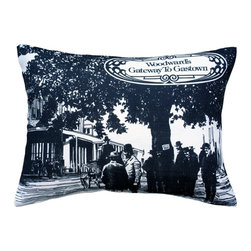 "Pillow Decor - Pillow Decor - Woodward's Gateway to Gastown Throw Pillow 16X20 - The Woodward""s Gateway to Gastown Throw Pillow features the design that covered the original shopping box used by Woodward""s Department Stores in the 1970s. The print on the box depicts an image of an 1880""s scene in the historical district of Gastown and a stylized shield with the words, ""Woodward""s Gateway to Gastown""."