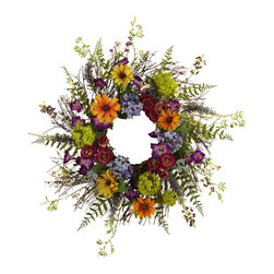"Nearly Natural - Nearly Natural 24"" Spring Garden Wreath with Twig Base - Say hello to Spring sunshine, no matter what time of year it is. This pretty 24"" Spring Garden Wreath takes everything we love about spring, and wraps it into a never-ending circle of colorful sunshine! With a vast array of springtime blooms, sprigs, and twiggy base, it looks so real even the bees will be fooled! Makes an ideal home or office decoration, and a fine gift as well."