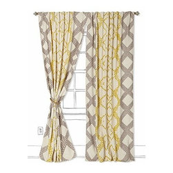 """Anthropologie - Ratio Curtain - Sold individually Tunnel tab constructionWool; cotton lining Dry clean50""""WImported"""