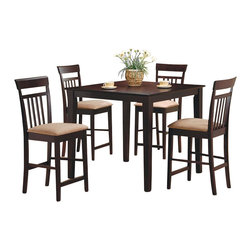 Coaster - Coaster Moreland 5 Piece Counter Height Dining Set in Cappuccino - Coaster - Dining Sets - 150041 - Coaster is one of the innovators of Ready to Assemble furniture. It has grown to be a name customers can trust when it comes to quality furniture for the right price. This beautiful and streamlined cappuccino set comes with four high-backed chairs for the ultimate in comfort. The counter height dining set is trendy and convenient for both entertaining and family dinners. Add this beautiful counter height dining set to your home to create a warm and inviting entertainment space. The set includes a square counter height table with smooth edges and sleek tapered legs. The matching chairs feature high vertically slatted backs and soft microfiber padded seats for comfort durability and style. This casual contemporary five piece dining set is available in warm medium Walnut and rich dark Cappuccino finishes to complement your decor. Choose one of these sets for an instant style update in your home.