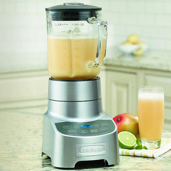 """Frontgate - Cuisinart PowerEdge 700 Blender - 700-watt motor gives you generous blending power. 56-oz. glass jar has easy-pour spout and comfortable handle. Power6 Turbo-Edge blade design enhances vortex performance. Pre-programmed Smoothie and Ice Crush functions. Durable die-cast metal housing. The Cuisinart PowerEdge 700 Blender is an optimal combination of power and performance. Whether you enjoy making custom-blended smoothies, soups, sauces, or marinades, this indispensable blender gets the job done quickly and quietly.  . . . . . Backlit function buttons. Backlit Count-Up timer sounds a beep after 3 minutes of blending time. Standby mode. 33"""" cord. 120V ."""