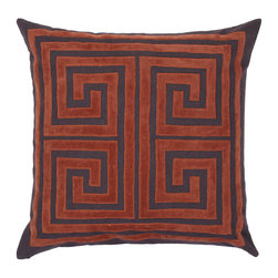 """Athens Pillow 24"""" - Flame - Our stylish geometric Athens pillow, inspired by the classic Greek Key design, is an exceptional addition to either traditional or contemporary decor, and comes in a range of colors to complement almost any piece of furniture. The 24 inch square pillow is made of soft cotton velvet, with the graphic Flame design appliqued on a Charcoal background to create a dramatic effect.  Contains a feather insert accessed by a zipper closure.  Dry clean only."""