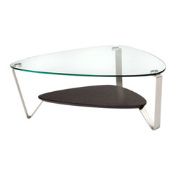 BDI - Small Dino Coffee Table-Espresso - The Small Dino Coffee Table from BDI has a sleek and elegant design. The table has an organic and asymmetrical shape. The legs are made of steel and the table top is glass. The table legs converge to prop up a middle shelf. The shelf is available in 3 color options.