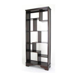 Wayborn - Display Vertical Asian Storage Shelves - Unique Asian style vertical storage shelves cabinet makes a terrific room divider and display space.  Multi-sized cubbies are perfect for showing off collections and objet d'art because you get a great view from any angle.  Wood shelves are rich dark walnut finish. Made from Basswood. Smooth finish. 32 in. W x 12 in. D x 78 in. H (45 lbs.)