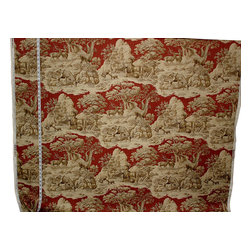 Deer Fabric Red Toile Woods Nature Woodland Lodge, Standard Cut - A deer fabric. This red deer toile fabric is a woodland nature fabric. If you need a lodge fabric or a woodland fabric this is perfect. There is a co-ordinating fabric with feathers floating over a plaid background.