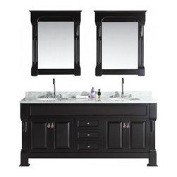 "Design Element - Design Element DEC081-WTP Marcos 72"" Double Sink Vanity Set - Design Element DEC081-WTP Marcos 72"" Double Sink Vanity Set with Carrara White Marble Countertop in Espresso"