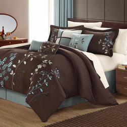 Chic - Bliss Garden 8-piece Chocolate Brown Comforter Set - The Bliss Garden decorative comforter set features exquisitely embroidered floral vines set against a brown background. This brown comforter set is contrasted with a blue bed skirt and throw pillows.