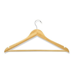 Honey Can Do - 8 Pack Wood Suit Hanger- Bamboo - 8 pack, basic suit hanger with non-slip bar. Chrome hook. Bamboo