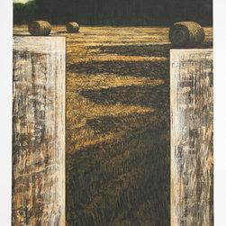 Richard Ballard, Paysages aux Trois Meules, Aquatint Etching - Artist:  Richard Ballard