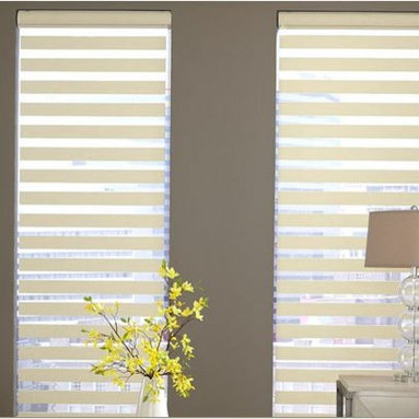Venetian Blinds- 3 Day Blinds- Living Room - Venetian Blinds are a timeless window treatment known for their horizontal slats and easy operation. 3 Day Blinds refers to Venetian Blinds as Simply Sheer Shades. These light weight window treatments are a great option for spaces where room darkening is important. While these are not blackout blinds, when layered with blackout curtains it will provide you with maximum darkness.