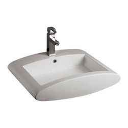 Whitehaus Collection - Whitehaus WHKN1099 Ceramic Rectangular Above Mount Bathroom Sink Basin - Whitehaus Collection bathroom sinks are modern sleek and stylish. A great option for anyone that wants a unique and eye catching bathroom design!
