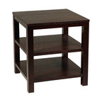 "Avenue Six - Avenue Six Merge 20"" Square End Table in Black - Avenue Six - End Tables - MRG09SBK - Featuring solid wood legs, this modern end table is here to complete your lovely home. Perfect for a lamp, book or drinks. Two lower selves provide more storage space. Artfully crafted to withstand years of use, Merge Square End Table will be a valuable addition to your lovely home."