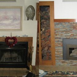 Collinswood, Fireplacextrodinair, RealStone Systems - Before/After Fireplace Projects - A nice Before/After shot of a job we completed that removed existing paneling around the fireplace and replaced it with RealStone Systems Terracotta Shadow Stone and Collinswood mantel shelf. We also installed a direct-vent gas fireplace insert to provide convenient, efficient heat to the room.