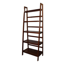 None - 5-tier Wooden Ladder Shelf - Featuring five (5) shelves that graduate in size,this ladder bookcase is a wonderful way to store and display your home decorations,pictures,collectibles,books and more.