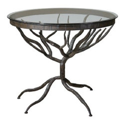 Uttermost - Uttermost Esher Glass Accent Table in Bronze - Bronze metal hand forged into delicately designed twigs beneath clear, tempered glass.