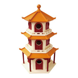 Home Bazaar - Pagoda Birdhouse - Enhance your garden with a touch of Asian architecture that doubles as a functional birdhouse. Your neighborhood winged friends will love nesting in its three separate boxes or perching on its multiple eaves. And since the house is made of exterior-grade plywood and resin, it's easy to clean and perfect for the garden.