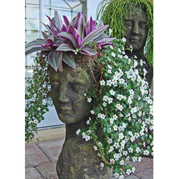 Lady head planter - Here's a traditional example of the lady head sculpture. It's fun to choose plants that mimic the look of hair. The flowing white-flowering plant chosen here? Awesome.