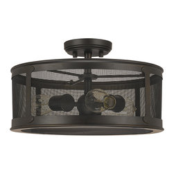 """Capital Lighting - Dylan Screen Semi-Flush Fixture - Dylan Screen 3-Light Outdoor Semi-Flush Fixture.  Old Bronze finish with Bronze Brass Screen.  Takes three 100W bulbs.  UL Listed.  Rated for Damp Environments.  Canopy: 5"""" round."""