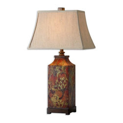 Uttermost - Uttermost Colorful Flowers Lamp - Uttermost Colorful Flowers Lamp is a part of Grace Feyock Collection by Uttermost Colorful flower print with burnished walnut finished details. The rectangle bell shade is an ivory linen fabric. Lamp (1)