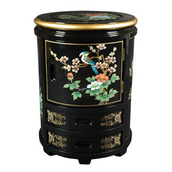 Oriental Furniture - Japanese Stool - Black Landscape - A beautiful and functional accent which complements any room, this Japanese stool is hand-crafted of Elmwood and finished in a rich, clear lacquer. Each is individually hand painted, and exact details vary, making each a stunning and wholly unique accessory for the home that doubles as a decorative stand or circular end table with three compartments.