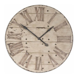 Uttermost - Harrington 36 in.  Wooden Wall Clock - Features An Antiqued Ivory Face With Gentle Distressing Around The Outer Rim And Dark Chestnut Undertones. Requires 1AA Battery.