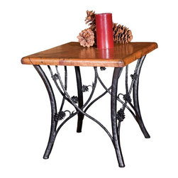 "Mathews & Company - Piney Woods End Table with 24"" Square Top - This handcrafted wrought iron end table draws the natural beauty of the forest into your home. Picture this intricately handmade end table bookending a sofa or next to a comfy armchair - the perfect height for holding your coffee as you sit nearby. Featuring beautifully crafted wrought iron pine cones and branches, the Piney Woods collection brings rustic charm to your d��_cor. This table base is hand welded and comes in four finishes to perfectly match your personal style: natural black, rust, aged pewter or aged bronze. Every bend and joint is painstakingly perfected for top quality, durability and beauty by skilled artisan blacksmiths - no assembly line production here! Pictured in Copper top and Black finish."