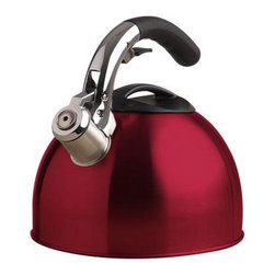 Epoca - Primula SoftGrip Kettle 3Qt Rd - Primula Soft Grip Brushed Stainless Steel Tea Kettle 3.0 Quart in Red will be a showpiece in your kitchen. The brushed stainless steel design with a heat-resistant black lid and matching soft grip handle is dramatically accented beside the shiny silver spout. It holds 3 qts of water- large enough to hold water for 12 cups of tea. Each Soft Grip Whistling Tea Kettle is constructed of with an encapsulated bottom to heat quickly and evenly. Primula's specially designed phenolic soft grip handle provides a firm stay-cool grip. Another special feature is the flip up spout which allows for safe handling and even pouring. Even the lid was carefully constructed  with a heat-resistant looped handle for easy removal to sit atop a wide opening for easy fill and cleaning. A soft pleasant whistle is emitted when water reaches a boil.  This item cannot be shipped to APO/FPO addresses. Please accept our apologies.