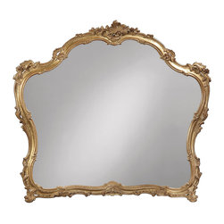 """Inviting Home - Venetian Style Mirror - 18th century Venetian style mirror in carved wood frame 46"""" x 41-1/2""""H hand-crafted in Italy 18th century Venetian style mirror in carved wood frame. Frame of this wall mirror is carved in deep relief with leaf and scroll design and finished and hand applied antique gold leaf. This mirror is hand-crafted in Italy."""