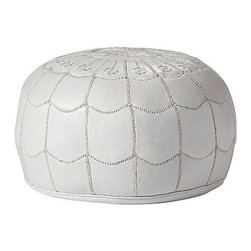Serena & Lily - White Moroccan Leather Pouf - This is the quintessential Moroccan pouf in a gorgeous white. This one isn't meant for sticky-handed kids!