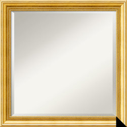 Amanti Art - 'Townhouse Gold Wall Mirror - Square' 23 x 23-inch - This mottled gold frame with random black dotting throughout is enhanced with a tan patina along the beaded edging of the inner side.This mirror features a mottled gold colored frame with random black dotting throughout. It is enhanced with a tan patina along the beaded inner edge.