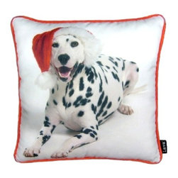 Lava - Holiday Dalmation 16X16 Decorative Pillow (Indoor/Outdoor) - 100% polyester cover and fill.  Suitable for use indoors or out.  Made in USA.  Spot Clean only