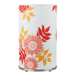 Lights Up! - Meridian Large Table Lamp, Anna Red - With its soft, cylindrical fabric shade and warm red and gold floral print, this table lamp instantly puts you at ease with its welcoming, homey vibe. Put it by your favorite reading chair, bedside or bathtub and prepare to get snuggly.