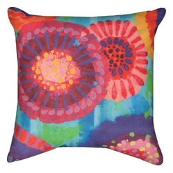 """Manual - Brightly Colored """"Starburst"""" Floral Print Indoor / Outdoor Throw Pillows - This 18 inch square woven throw pillow adds an elegant accent to any home. The Climaweave fabric is durable, fade and moisture resistant, so the pillow can be used indoors or outdoors. Each side features brightly colored starburst floral fireworks print. It is made of 100% polyester, from the woven cover to the soft stuffing. Each of these pillows is crafted with pride in the Blue Ridge Mountains of North Carolina."""