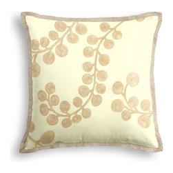 Metallic Gold Swirl Branch Tailored Pillow - The Tailored Throw Pillow is an updated, contemporary pillow style with the center fabric framed by a thin contrast flange.  Voila!-it's artwork for your couch!  We love it in this stunning swirling branch pattern handprinted in metallic gold gray on cream cotton. a fresh centerpiece to any style room, from contemporary to classic.